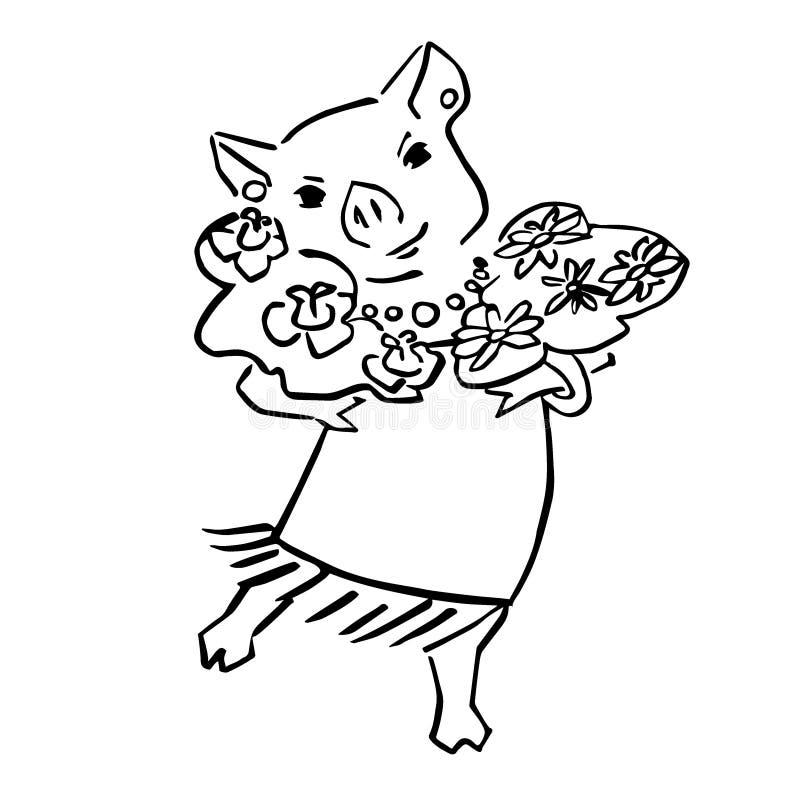Fumetto sveglio felice del maiale di vettore con il mazzo royalty illustrazione gratis