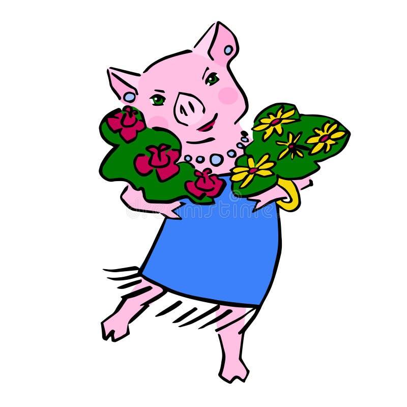 Fumetto sveglio felice del maiale di vettore con il mazzo illustrazione vettoriale