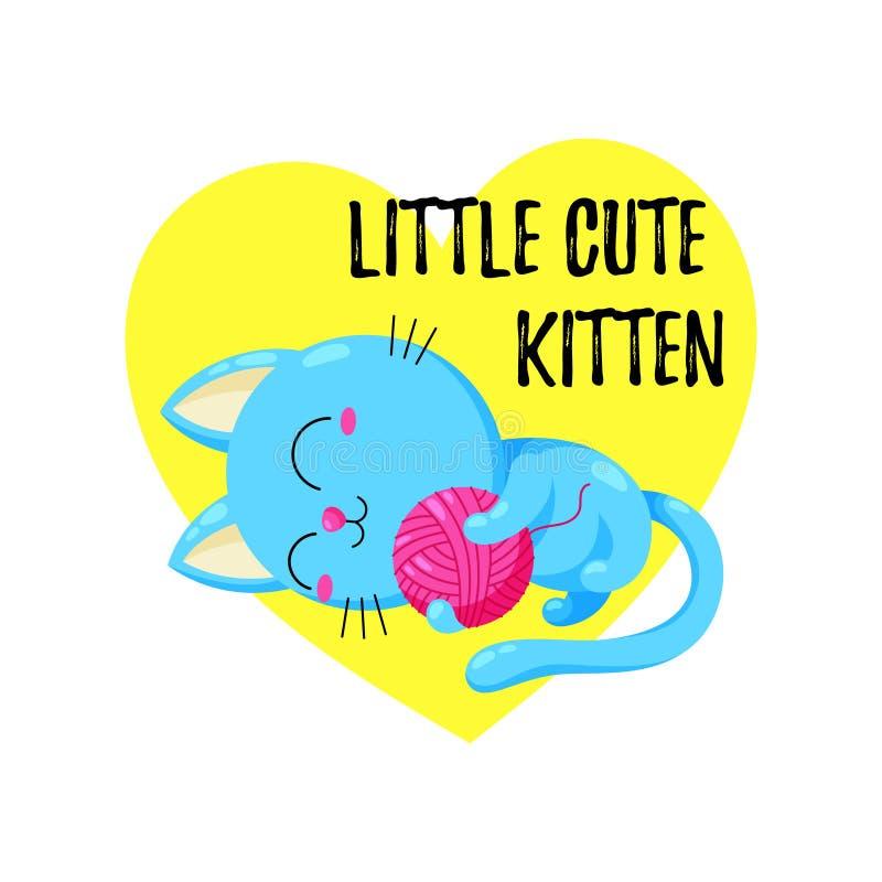 Fumetto sveglio Kitten Playing con una palla r Modello per la stampa, progettazione royalty illustrazione gratis