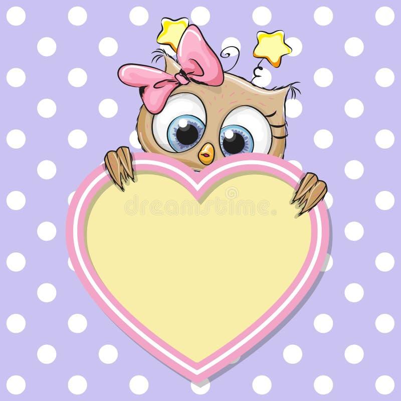 Fumetto sveglio Owl Girl illustrazione vettoriale