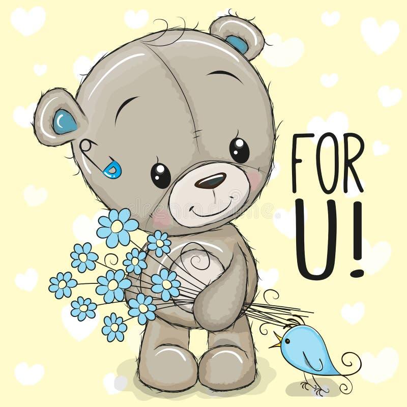 Fumetto sveglio Teddy Bear con un fiore illustrazione vettoriale