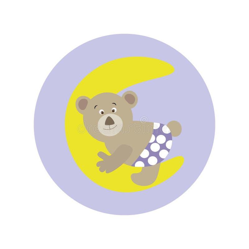 Fumetto sveglio Teddy Bear sulla luna royalty illustrazione gratis