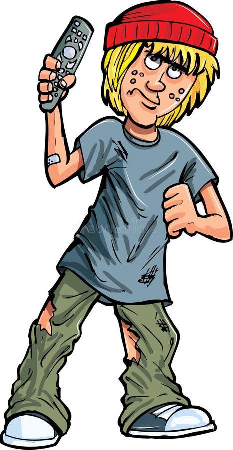 Fumetto teenager con un telecomando royalty illustrazione gratis