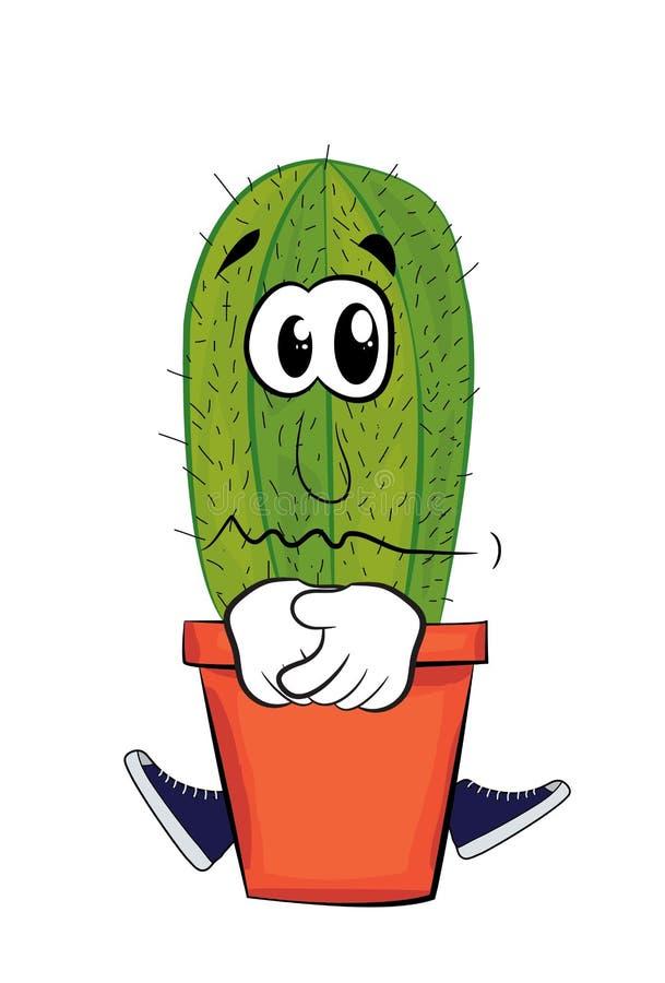 Fumetto triste del cactus illustrazione vettoriale