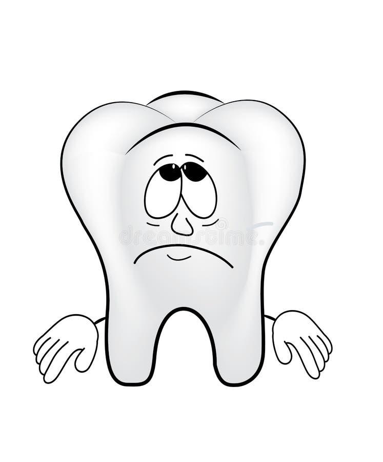 Fumetto triste del dente illustrazione di stock