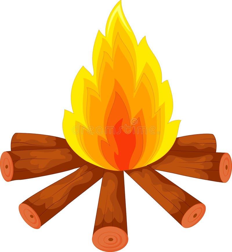 Fumetto un fuoco di accampamento su bianco royalty illustrazione gratis