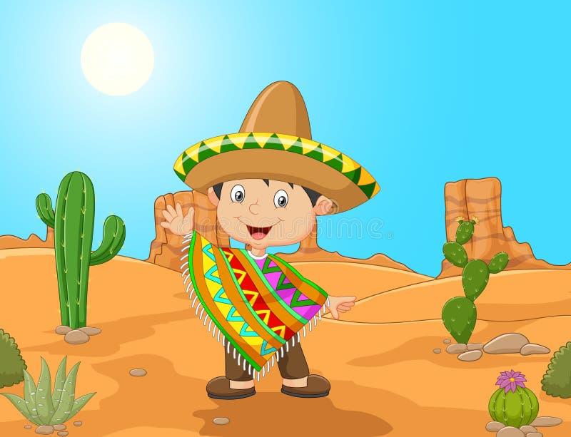 Fumetto una mano d'ondeggiamento del ragazzo messicano illustrazione vettoriale