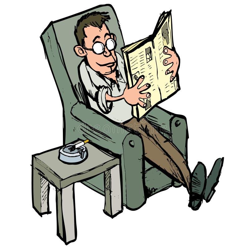 Fumetto in una presidenza di salotto che legge un giornale illustrazione di stock