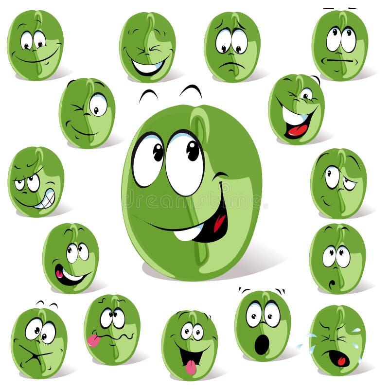 Fumetto verde del chicco di caffè illustrazione vettoriale