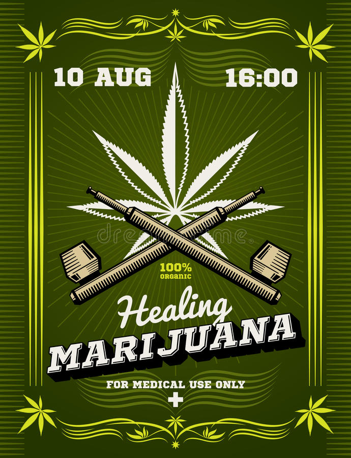 Fumeur de marijuana, mauvaises herbes, fond d'avertissement de vecteur de drogue illustration libre de droits
