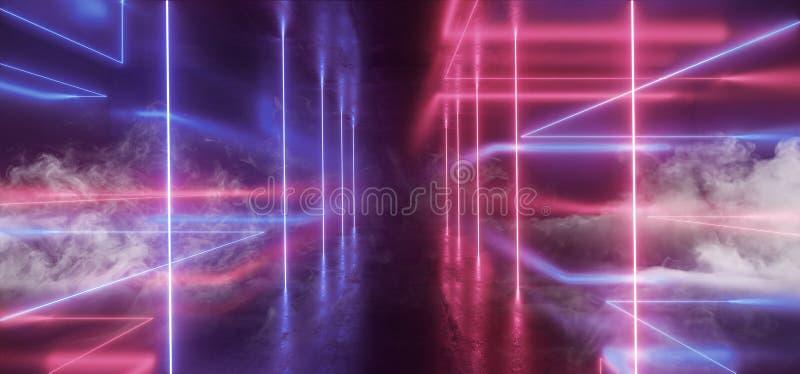Fumez abrégé sur rougeoyant Sci fi de triangle de lumières futuristes au néon le rétro a formé le grunge concret de colonne vibra illustration libre de droits