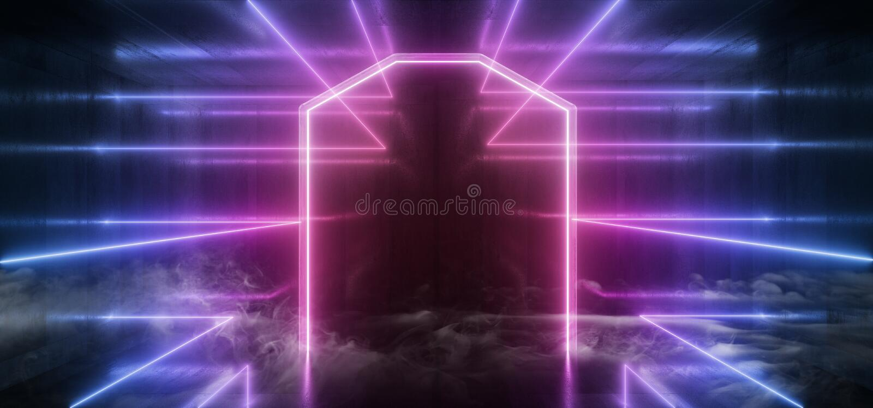 Fumez abrégé sur rougeoyant Sci fi de triangle de lumières futuristes au néon le rétro a formé le grunge concret de colonne vibra illustration stock