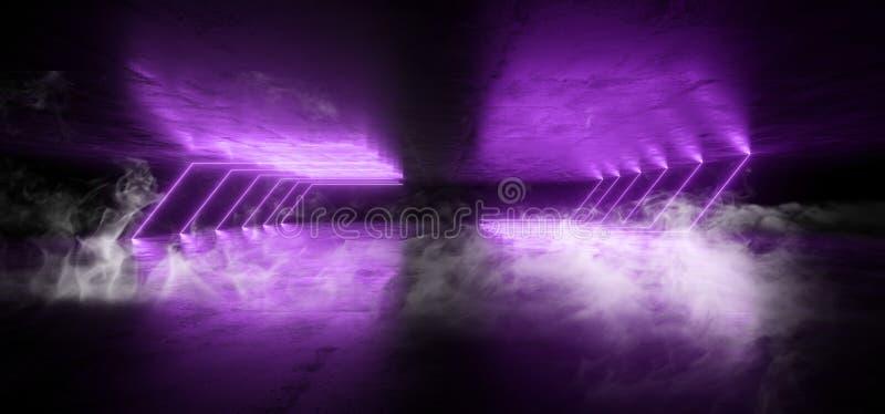Fumez le grunge souterrain rougeoyant de rétro de Sci fi de lampes au néon de pourpre futuriste de laser de vaisseau spatial de c illustration libre de droits