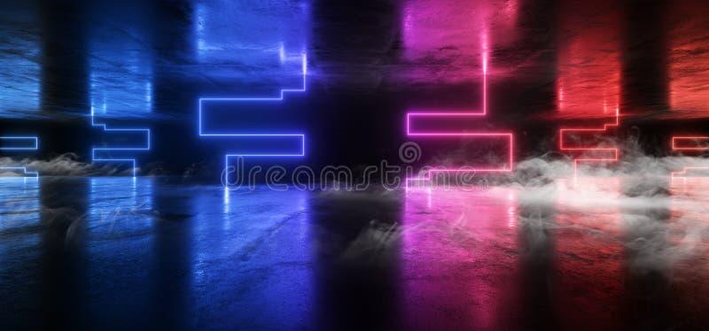 Fumez le souterrain foncé rougeoyant bleu de garage de rétro de Sci fi de lampes au néon de pourpre futuriste de laser de vaissea illustration libre de droits
