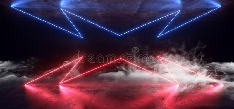 Fumez le souterrain foncé rougeoyant bleu de garage de rétro de Sci fi de lampes au néon de pourpre futuriste de laser de vaissea illustration stock