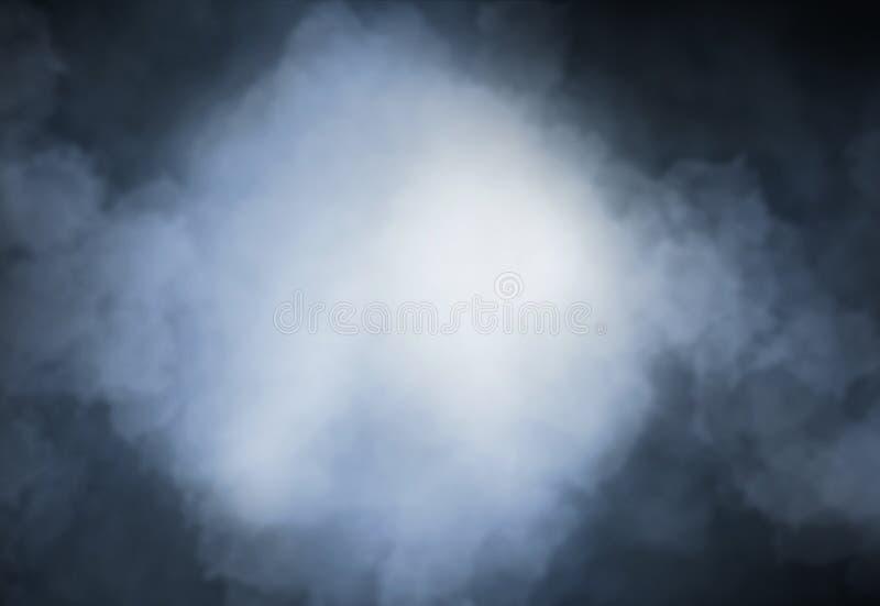 Fumi il gray blu-chiaro su un concetto nero di Halloween del fondo fotografia stock libera da diritti
