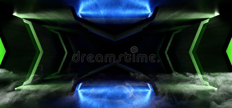 Fumi l'astronave straniera d'ardore verde blu futuristica al neon di lerciume di Sci Fi del vapore della nebbia del tunnel di cor illustrazione di stock