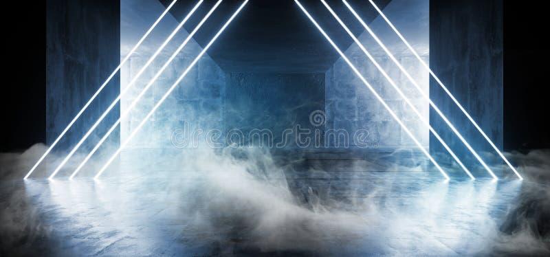 Fumi lo spazio vuoto d'ardore vibrante Sci di Asphalt Hall Tunnel Fluorescent Blue Triangle del fondo concreto scuro al neon di l illustrazione di stock