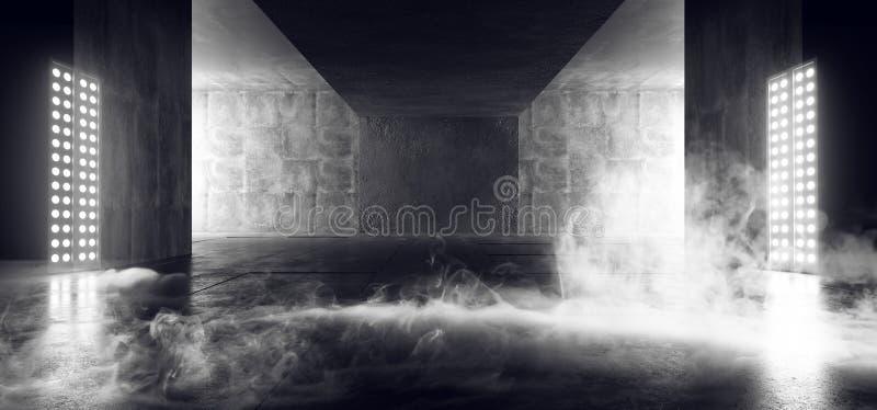 Fumi lo spazio vuoto Sci Fi di Asphalt Hall Tunnel Fluorescent White Glowing del fondo concreto scuro al neon di lerciume dell'es royalty illustrazione gratis