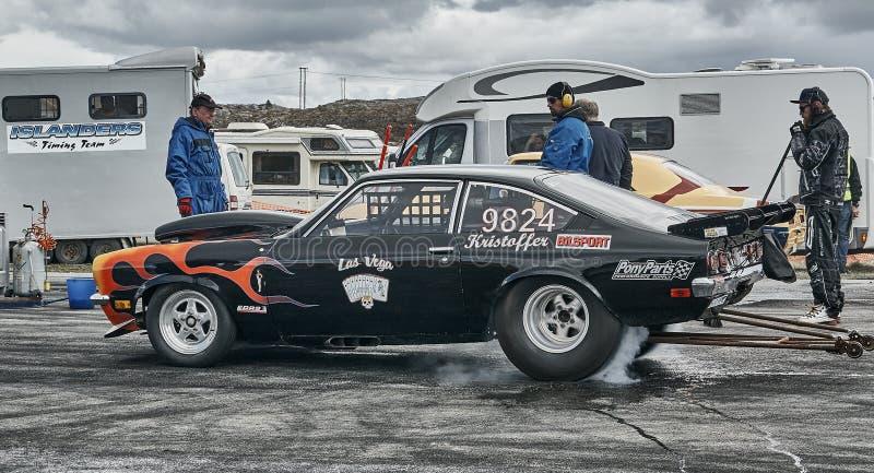 Fuming drift car royalty free stock photo
