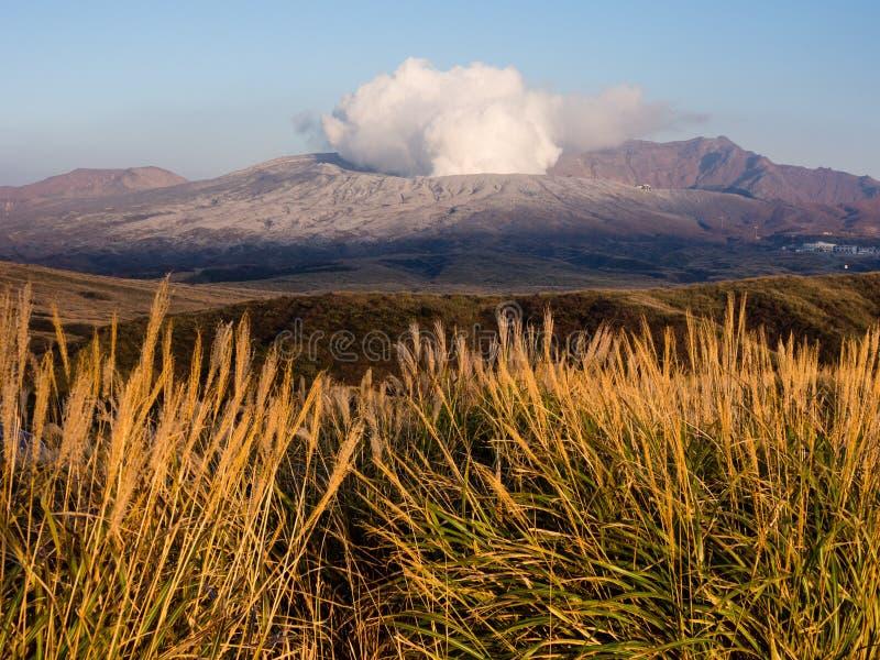 Fuming Nakadake crater covered in volcanic ash after 2016 Kumamoto earthquakes and eruption. Aso-Kuju National park, Kumamoto prefecture, Japan stock image