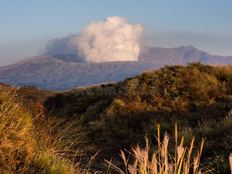 Fuming Nakadake crater covered in volcanic ash after 2016 Kumamoto earthquakes and eruption. Aso-Kuju National park, Kumamoto prefecture, Japan royalty free stock images