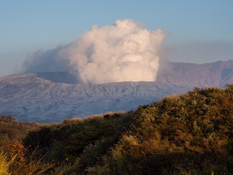 Fuming Nakadake crater covered in volcanic ash after 2016 Kumamoto earthquakes and eruption. Aso-Kuju National park, Kumamoto prefecture, Japan royalty free stock photos