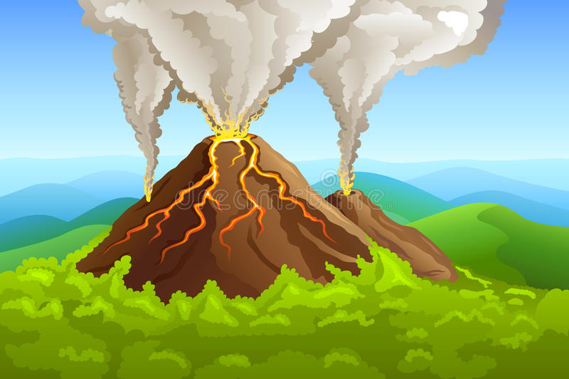 Fuming volcano among green forest stock illustration
