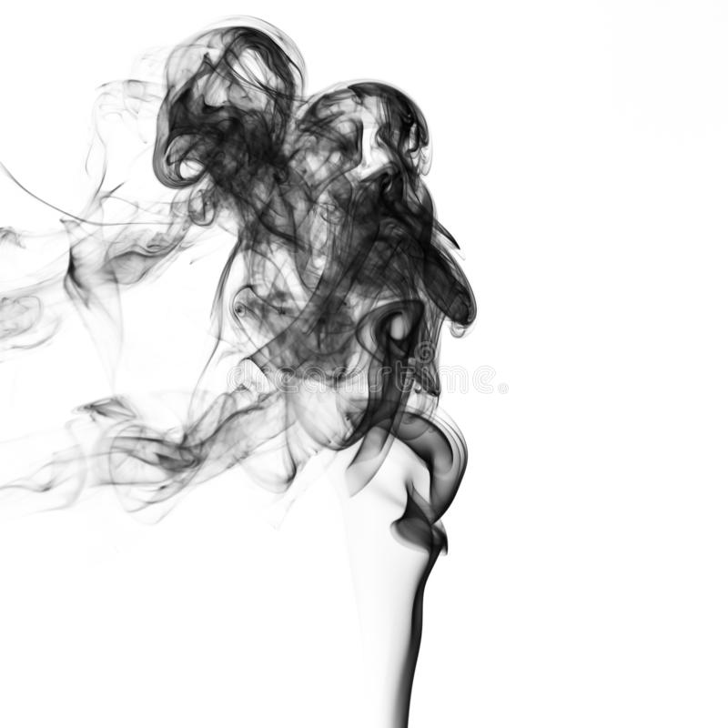 fumo abstrato Fumo preto do pó explosivo no fundo branco imagens de stock royalty free