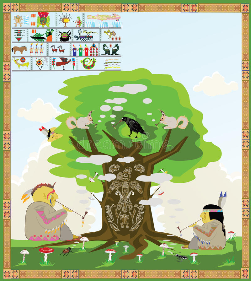 Fumo americano dos indianos ilustração royalty free
