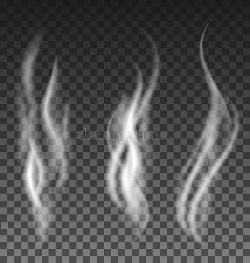 Fumo branco ajustado no fundo translúcido ilustração royalty free