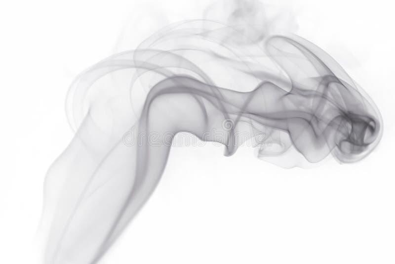 Fumo cinzento no fundo branco foto de stock