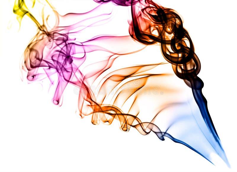 Fumo colorato su bianco immagine stock