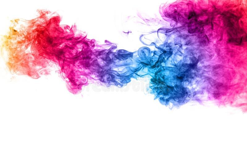 Fumo colorido abstrato no fundo branco imagens de stock