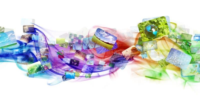 Fumo colorido com imagens ilustração stock