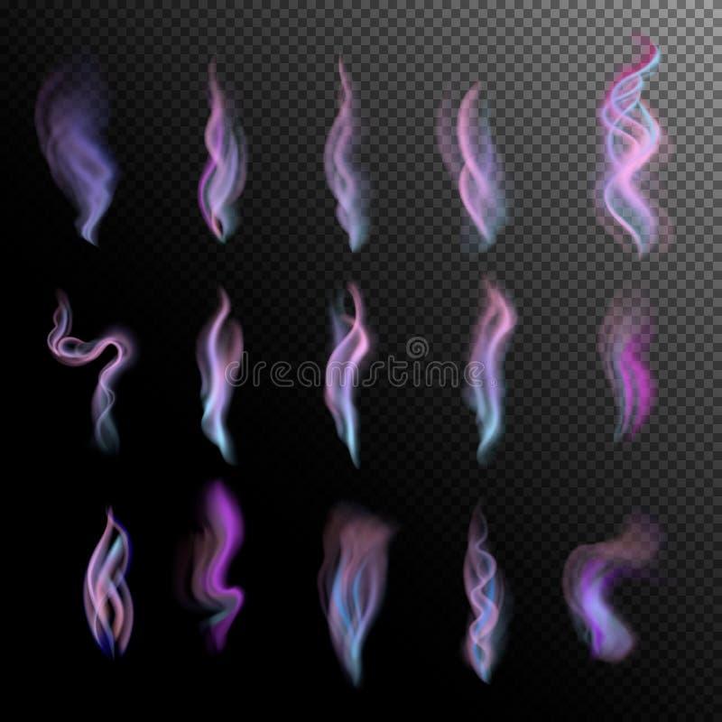 Fumo colorido no fundo preto isolado grupo azul violeta lilás realístico abstrato do fumo ilustração 3D Vetor ilustração stock