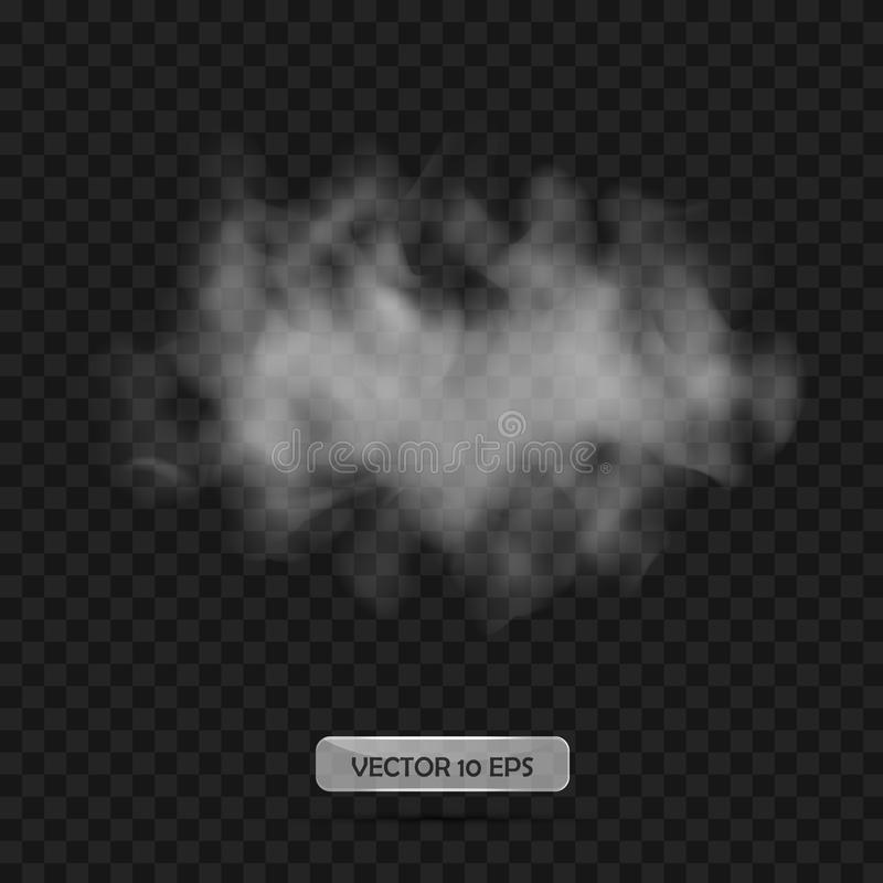 Fumo com fundo transparente preto Ilustração do vetor Fumo abstrato cinzento isolado Elementos transparentes para a Web, illustra ilustração do vetor