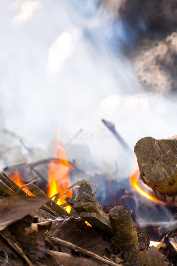 Fumo de queimar a folha e a madeira secas fotografia de stock