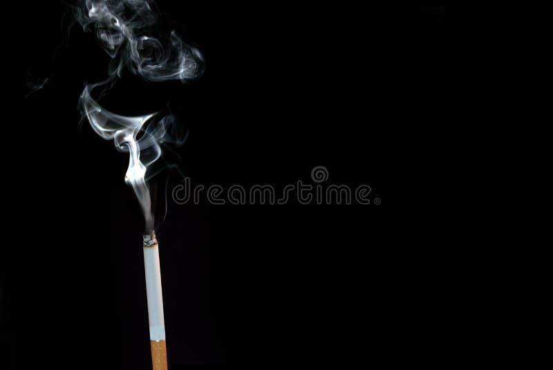 Fumo de um cigarro do Lit contra um fundo preto fotografia de stock royalty free