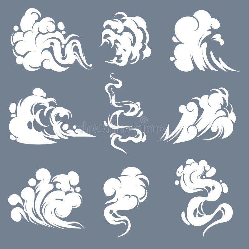 Fumo dos desenhos animados Que fuma o vapor nuvens cheira o tiro expirado mau do jogo dos efeitos de n?voa da n?voa do sopro do a ilustração royalty free