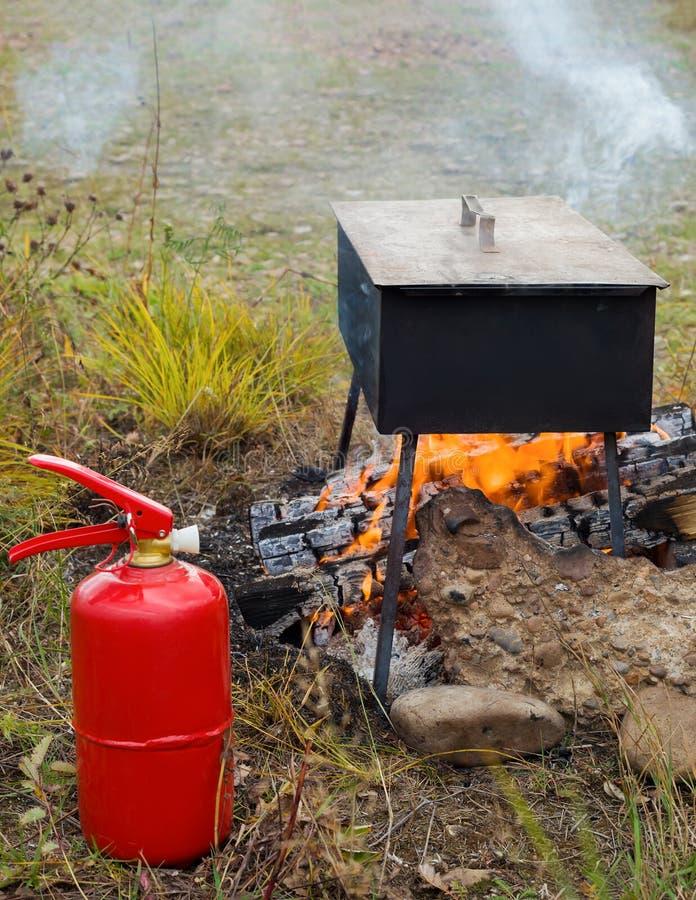 Fumo dos peixes em um fogo em uma caixa de fumo imagens de stock
