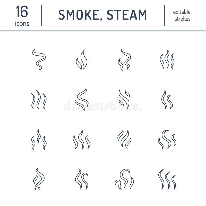 Fumo, linha lisa ícones do vapor Formas das emanações, ilustrações do calor do cheiro do aroma Sinais do vetor da evaporação ilustração do vetor