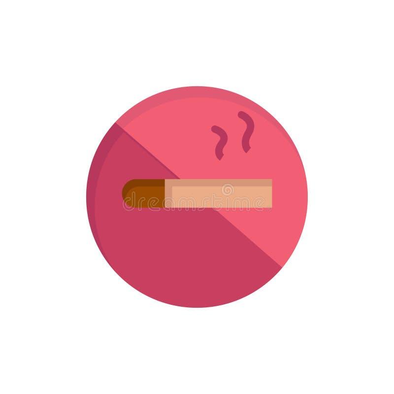 Fumo, não fumadores, cigarro, ícone liso da cor da saúde Molde da bandeira do ícone do vetor ilustração stock
