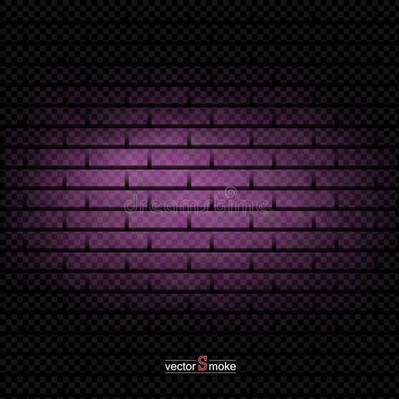 Fumo porpora del fondo del muro di mattoni illustrazione vettoriale