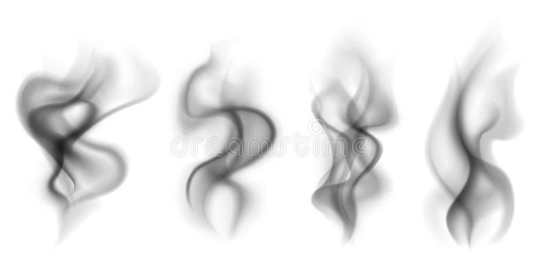 Fumo preto Fumo quente transparente do café do chá do cigarro do vapor do alimento das nuvens de fumo que cozinha o grupo do veto ilustração royalty free