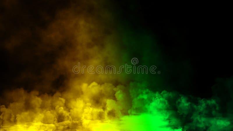 Fumo verde di pendenza sul pavimento Fondo nero isolato Sovrapposizioni nebbiose di struttura di effetto di nebbia per testo o sp immagini stock libere da diritti