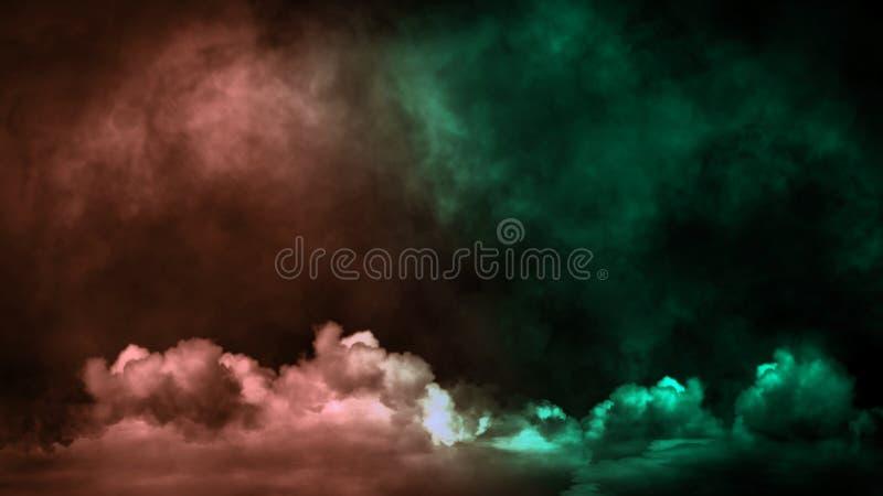 Fumo verde di pendenza sul pavimento Fondo nero isolato Sovrapposizioni nebbiose di struttura di effetto di nebbia per testo o sp fotografie stock libere da diritti