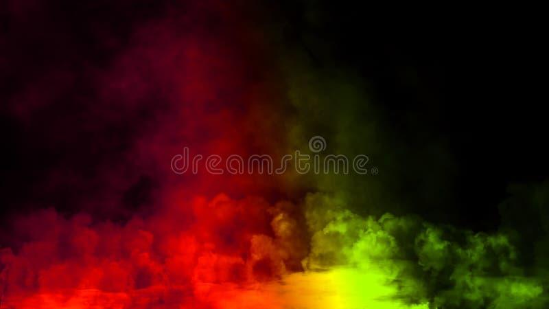 Fumo verde di pendenza sul pavimento Fondo nero isolato Sovrapposizioni nebbiose di struttura di effetto di nebbia per testo o sp fotografia stock