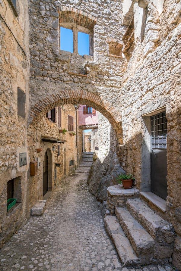 Fumone, comune in de Provincie van Frosinone in het Italiaanse gebied van Lazio Italië royalty-vrije stock afbeelding