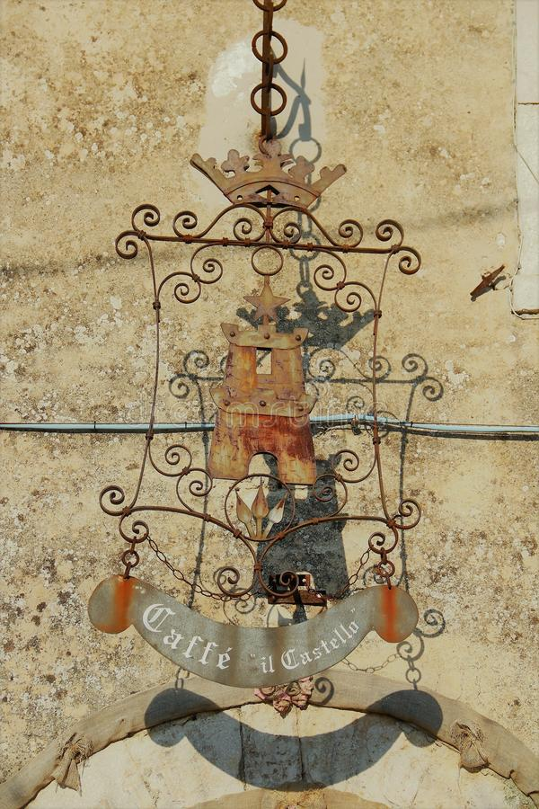 Fumone, a medieval village in Italy. Emblem. Fumone is a medieval small town in the province of Frosinone in the italian region of Lazio. It is on an isolated royalty free stock photos